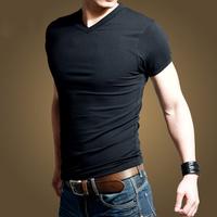 Hot 2014 Men's Summer Fashion V-Neck T Shirt Slim Fit High Stretch Lycra Cotton Solid Color T-Shirts For Men Clothing ST-602