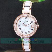 50pcs/lot JW-142H Fashion Ladies Bracelet Watch Crystal Design Acrylic Rose Gold Quartz Watch Fashion JW Brand Dress Watch