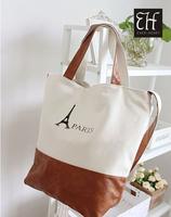 HOT sale fashion designer canvas leather tote bag wih leather shoulder strap Free Shipping