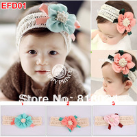 10pcs/LOT Lovely Children Headband Cotton Elastic Chiffon Flower Kid's Baby Girls Headwear infant Hair Accessories Free Shipping