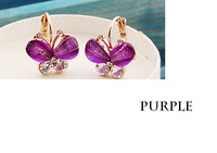ZH0125 IVY Store 3pair/lot 2013 fashion jewelry hot sale Butterfly dragonfly earrings mix colours (Min Mix Order $10)