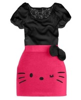 2013 children's unique cute design summer clothing kids t shirt top + hello kitty bow skirt girls 2 pcs/ set GQT-186