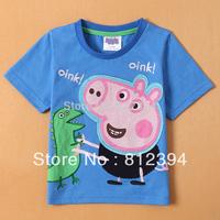 Free shipping new 2014 Summer baby boys t shirt Kids apparel peppa pig t-shirt children clothing for baby boys tops 5pcs/lots