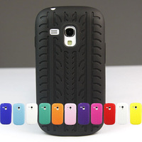 Tyre Tread Soft Silicone Case Cover For Samsung Galaxy S III S3 Mini i8190 + Screen Protector + Colorful Wholesale Hot Sale