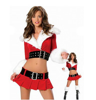 Free shipping 2 Belt women christmas costumes,Costumel in Christmas Suits,Red Christmas Sexy Lingerie (Blouse+Skirt+2Pcs Belts)