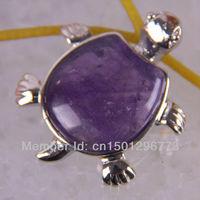 Amethyst Bead Pendant Turtle Jewelry Free shipping S564