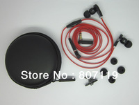 "Free shipping,""L"" Plug Handsfree 3.5mm Red  In-ear Earphone plastic For MP3/MP4/ DJ Headphone with Carry Case +extra earbuds"