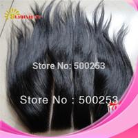 Sunnymay Straight Three Part Lace Closure 120% Density Virgin Peruvian Hair 5x5 3 part Closure In Stock