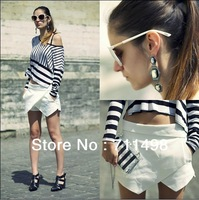 New Arrival 1pcs White/ Black/ Navy Blue Fashion Summer Irregular Asymmetric Tiered Shorts Trousers Culottes Pants S/M/L