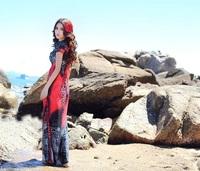 M L XL Sexy Women Leopard Beach Maxi Dress Female Lady Bohemia Dress Evening Long Dress Red Plus Size 2014 New Fashin Summer
