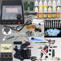 OPHIR Free shipping NEW 325Pcs PRO Tattoo Kit Power Supply 2 Machine Gun 12 Color Inkshot 50 Needles_TA004