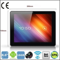 8 inch tablet pcS A31 quad core 1.5GHZ 16GB ROM 1GB RAM 6500mAH wifi 10-point touch capacitive screen Android 4.2,Free Shipping