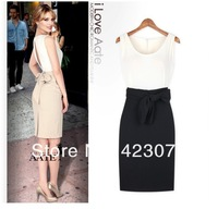 2013 New  Free shipping fashion slotted spell color dress