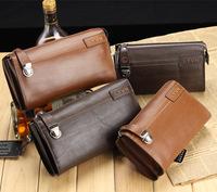 Vintage genuine leather bolsos men clutch bags cowhide handbags men's leather bolsas large capacity brand hand bag for man