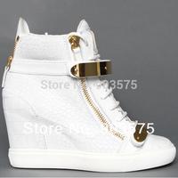 100% genuine leather women's fall wedge sneakers Goldtone Hardware White Black Crocodile autumn ankle boots big size EU 35-43