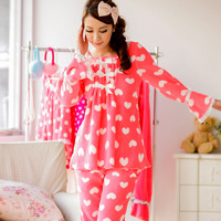 2013 winter female sleepwear brand Lovely Sweet Dreams warm soft coral fleece long-sleeved pajamas pants,women home wear sets