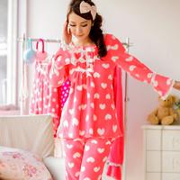 2014 long winter women camisolas e pijama feminino comprido inverno brand retro soft warm coral fleece nightwear pajamas clothes