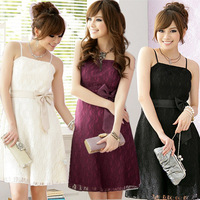 F~3XL!! Hot Sale 2013 Sexy Slim Evening Lace Bow Spaghetti Strap Empire Party Plus Size XXXL Women Wedding Bridesmaid Dress