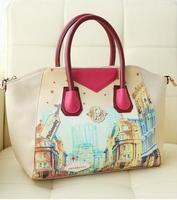 Colored drawing oil painting women's fashion shoulder bag ladies handbag cross-body doodle bag Casual Satchel smiley bags