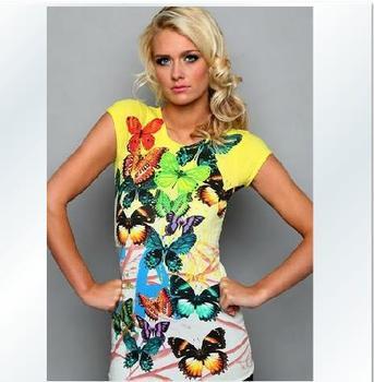 2013 New Fashion Women's High Quality Shirts Printed Short Sleeve T-shirt