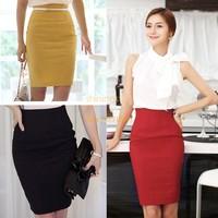 2014 New Women's Retro Skirt Casual High Waist Bag Hip Knee Length Office Lady Pencil Skirt 5 Colors B2 13810