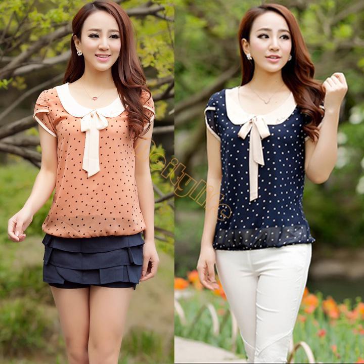 Casual mulheres doce Ladies Chiffon Dot boneca Collar manga curta Tops blusa SV24 SV003328(China (Mainland))