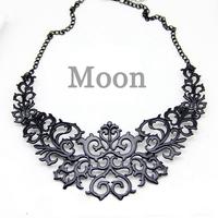 Punk Black Alloy Hollow Flower False Collar Choker Statement Necklaces & Pendants 2014 New Fsahion Jewelry Women Wholesale N2