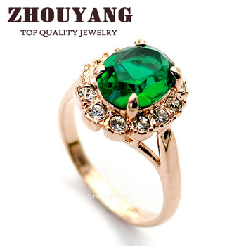 18K Rose Gold Plated Emerald Green Ring Elegant Jewelry CZ Diamond Austrian Crystal Stellux Full Size Wholesale  ZYR088