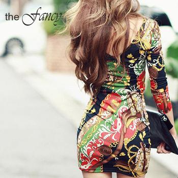 FREE SHIPPING Desigual Dress Bodycon long sleeve Print Floral tropical mini Boho casual vestido women ladies summer spring 2015