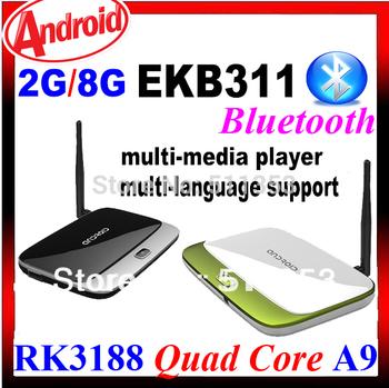 MK888B Bluetooth, 2GB Ram 8GB Rom Quad Core RK3188 Q7  Full HD Multi Media Player Android TV Box MK888 Antenna CS918 EKB311B