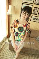 2013 Fashion Summer Women's Clothes Chiffon short Sleeve Causal Chiffon blouse Sundress many colors ,Free Shipping