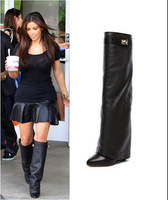 Whire/ black /red/nude leather women  knee boots increasing winter long booties  for women  turn over Buckle hgih pumps