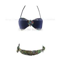 2015 Padded Biquini Crystal Bandeau Bikini Set Floral Print Swimsuit Halter Brazilian Swimwear Beachwear 1215