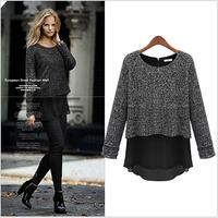 New European Style Women Long Sleeve Color Block Chiffon Patchwork Knitting Tops Blouses Brand Ruffle Spring Autumn Long Shirts