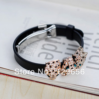 Branded design!Austria crystal&Gold plated,Leopard Head leather charm bracelet,Costume accessories,Freeshipping