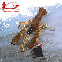 NEW ! 70pcs/Lot Articificial  Soft Bait 6cm Gray Rubber Shrimp Lure Soft Lure Fishing Tackle