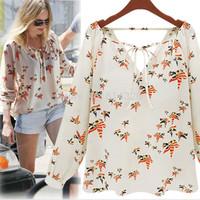 Women Shirt 2014 New Fashion Little Doves Printed Chiffon Shirts Ladies' Casual Blouses Women Clothing Wholesale+Retail #SX9797