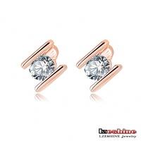 Freeshiping LZESHINE Brand H Letter Stud Earring Rose Gold Plate/Platinum Plate SWA Element Austrian Crystal Earrings ER0164