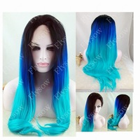 2014 new Free shipping glueless three tones wig silky straight turquoise synthetic lace front wig ombre black blue green wig