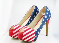 Large size US 9 10 11 cn 41 42 43  red bottom high heels 14 cm peep open toes US American flag platform pumps women shoes 2013