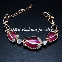 Brand name jewelry 2013,Pink Opal Tulip Flower bracelets,Gold plated Rosary bracelet,Cerlebrity jewelry,Freeshipping