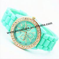 100pcs/lot,New fashion jelly silicone geneva watch women rhinestone watches luxury brand women dress quartz wristwatch