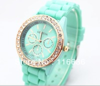 1pc Golden Crystal Geneva Watch diamond brilliant imitation rhinstone wristwatch golden watch Silicone Band quartz watch