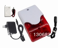 Wireless flashing siren,siren with strobe light,backup lithium polymer battery,433 /315 for home security alarm system
