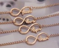 Min Order $10(Mix Order) Free Shipping,B073 New Fashion Infinite Infinity Love Hope Cheers Health Letter Bracelet, Wholesale