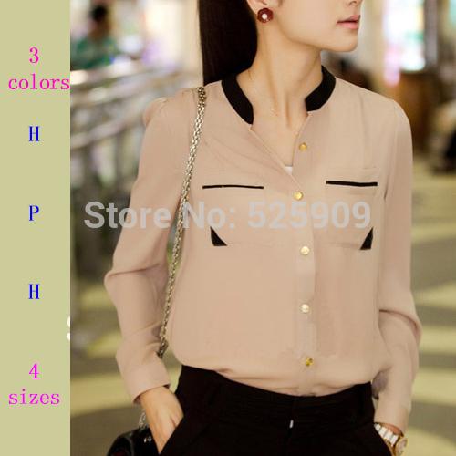 New 2014 Fashion autumn summer gold buckle small stand collar shirt chiffon shirt female long-sleeve shirt blouses woman WF-213(China (Mainland))