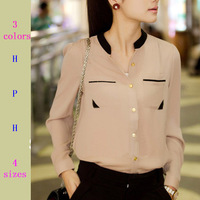 New 2014 Fashion autumn summer gold buckle small stand collar shirt chiffon shirt female long-sleeve shirt blouses woman WF-213