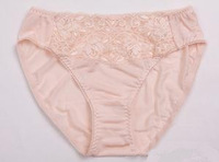 Hot-selling women's silk panties mulberry silk lace decoration sexy silk knitted mid waist briefs
