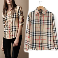 Hot 2014 S--XXL plus size fashion lattice casual cotton blouse plaid printed lady shirt vintage long sleeve slim women blouses