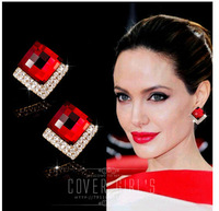 HOT SELLING 2015 spring summer Korea Brand royal RED Crystal Earring Full rhinestones very unique design